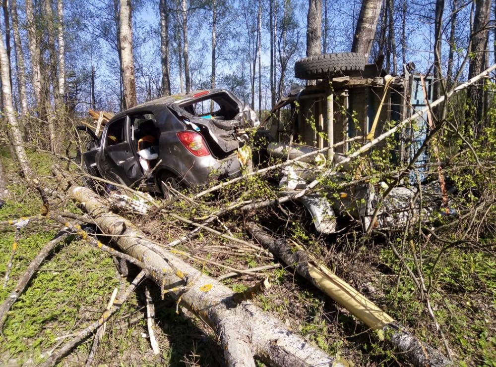Один перевернулся, второй снес деревья: иномарки столкнулись на трассе