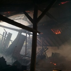 Заброшенный склад сгорел в Мятлево