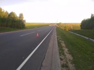 Молодой и потенциально нетрезвый мотоциклист упал на Киевскую трассу